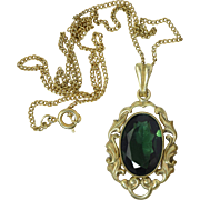 Vintage Czech Green Faceted Stone Pendant Necklace Gold Plated Art Deco