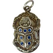 Vintage Sterling Silver & Enamel Egyptian Scarab Charm Pendant