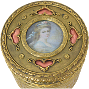 Antique French Gilt Bronze Jewelry Casket Powder Box w/Miniature Portrait & Pink Enamel