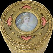 Antique French Gilt Bronze Jewelry Casket Powder Box w/Miniature Portrait & Pink Enamel