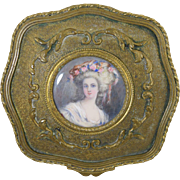 Antique French Brass Jewelry Casket Box w/Miniature Portrait 18th Century Lady Original Fabric Interior