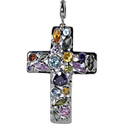 "18K White Gold Cross Multi Gemstone Pendant Enhancer 5g 1.5"" x 1"""