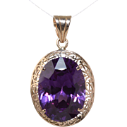 Vintage Synthetic Alexandrite Like Color Change Stone 14k Rose Gold Filigree Pendant 21.3mm x 15.6mm Oval