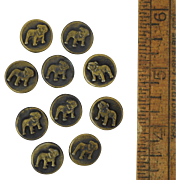 "10 Victorian Bulldog Buttons, Brass Plated Metal Antique 9/16"" Dog"