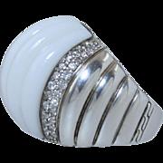 John Hardy Bedeg White Agate 1.25 tcw Diamond Dome Ring Sterling Silver sz 7