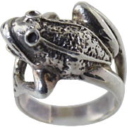 "Sterling Silver 925 ""Frog"" Figural Ring size 5.5... so cute!"