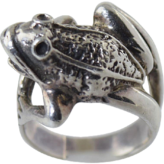 """Sterling Silver 925 """"Frog"""" Figural Ring size 5.5... so cute!"""