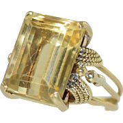 Vintage Retro Art Deco 18k Gold & Citrine Ladies Ring, size 6.5, 9.4g