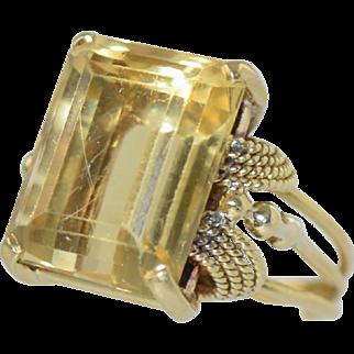Vintage Retro Art Deco 18k Gold & Citrine Ladies Ring, size 6.5, 9.4g