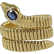 "Vintage 18k Gold Coiled ""Snake"" Ring w/Sapphire Head Italian 18.6g size 8.25-8.5"