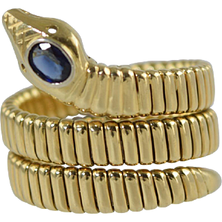 """Vintage 18k Gold Coiled """"Snake"""" Ring w/Sapphire Head Italian 18.6g size 8.25-8.5"""