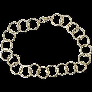 "14K Gold Circle Link Bracelet 7.5"" Long 2.8g"