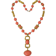 Vintage Les Bernard Faux Coral Bead & Cabochon Runway Couture Large Costume Necklace