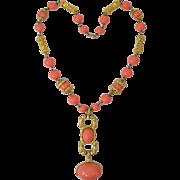 Vintage Les Bernard Faux Coral Bead & Cabochon Runway Couture Large Costume Necklace