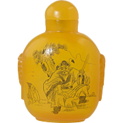 Vintage Chinese Amber Snuff Bottle w/Engraved Scenes Butterscotch Well Hollowed