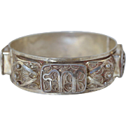 "Vintage Yemenite Silver Filigree Hinged Bracelet Hebrew ""Chai"" Symbol Hallmarked"