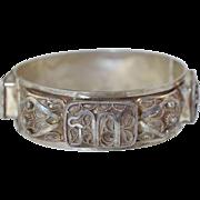 "Vintage Yemenite Silver Filigree Hinged Bracelet Hebrew ""Chai"" Symbol Hallmarked"