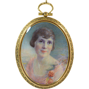 "c1920 NY Socialite Portrait Miniature ""Lady in Pink"" Engraved Gilt Brass Frame"