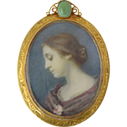 Antique Miniature Portrait of Woman 14k Gold Pin/Pendant Turquoise Frame** Hubbard Family NY