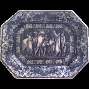 """Antique 18"""" """"Nestor's Sacrifice"""" J. Clementson Blue Transferware Platter Staffordshire c1849"""