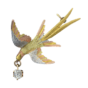 Antique Victorian 14k Tri Gold Pheasant Bird Pin Brooch w/Mine Cut Diamond Drop .25ct+