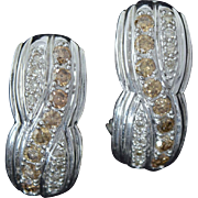 14k White Gold Champagne Diamond Earrings w/Omega Backs 1/2 CTW