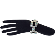 "Vintage Mexican Sterling Silver & Turquoise Large Link Bracelet 7 1/4"""