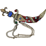 "Vintage Costume Sterling Enamel Rhinestone Dagger & Sheath Double Pin Brooch 4"" Turkish Style"