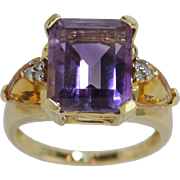 10K Gold Amethyst Citrine & Diamond Ladies Ring Sz 7
