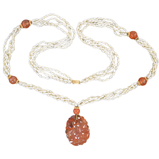 "Vintage 30"" 14K Gold & Chinese Carved Carnelian Pendant Necklace w/Pearls & Beads"