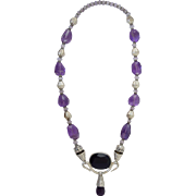 Sterling Silver & Amethyst Bead Necklace Large Bali Style w/Pendant 101.6g