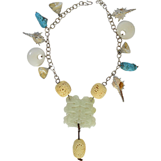 Large Sterling Chinese Carved Celadon Jade, Bone, Turquoise, & Sea Shell Bead Charm Necklace 179g Unique One of a Kind!
