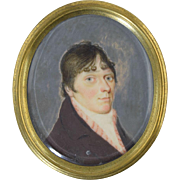 18th Century Miniature Portrait of Gentleman Antique