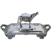 "Rare George III Sterling Figural Inkstand ""Braying Donkey"" by Philip Rundell 1819 ** 1583g, 50 troy oz"