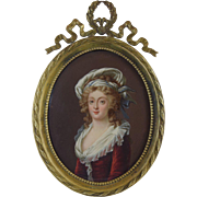 Antique French Miniature Portrait of Lady in Bronze Frame