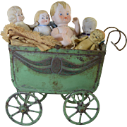 Vintage Painted Tin Goso German Baby Doll Carriage w/5 All Bisque Babies! Japan, Nippon & German