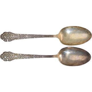 "2 Antique ""Old Medici"" Gorham Sterling Silver Serving Spoons 8 3/8"" No mono"