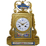 "Antique Henri Picard French Gilt Bronze & Porcelain Mantle Clock Vieyres & Repingon Paris Works ""As Is"""