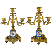 Pair Antique French Bronze & Porcelain Candelabra Candlesticks Sevres Style