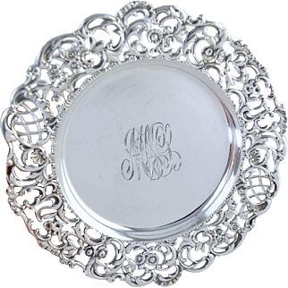 Antique Howard & Co Sterling Bread Plate Tray Dish w/Gorgeous Pierced Floral Border! 6.25""