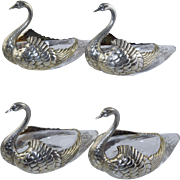 J.E. Caldwell Figural Sterling Swan Master Salt Nut Dishes Silver & Glass Antique (set of 4)