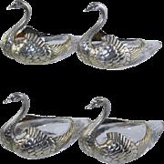 J.E. Caldwell Figural Sterling Swan Master Salt Nut Dishes Silver & Glass Antique (set of 4)