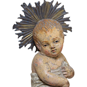 18thC Terracotta Creche Figures Angel & Infant Jesus w/Glass Eyes & Silver Halo Neapolitan Antique