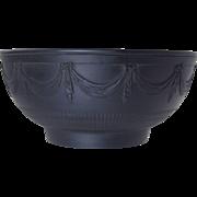 c1790 Antique Black Basalt Bowl w/Swags & Engine Turning Staffordshire Georgian