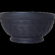 "Antique Black Basalt Bowl w/Chevron Engine Turning Staffordshire 19thC 6 3/4"""