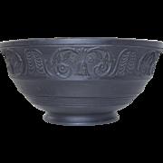 "Antique Black Basalt Bowl w/Molded Classical Design Staffordshire 19thC 6 3/8"""