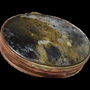 Antique Georgian Agate Stone Snuff Box w/Gilt Metal Mount