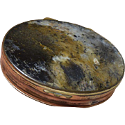 Antique Georgian Agate Stone Snuff Box w/Gilt Metal Mount