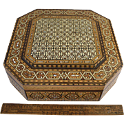 Magnificent Vintage Syrian Inlaid Bone & MOP Jewelry Box Large Parquetry Inlay