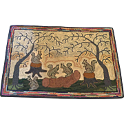 "Vintage ""Squirrel & Trees"" Hand Hooked Rug Fall/Winter Folk Art 32"" x 21"" Wonderful!"